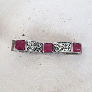 Silver pink filigree bracelet statement piece